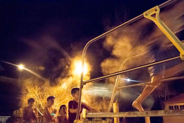 The Glenwood Hot Springs hosted its annual New Year's Eve celebration Satuday night with games every hour. The second round of games included duck races and a cannnonball contest off the diving board. Other games included a handstand contest, ping pong scramble, crocodile wrestling and a noodle relay.