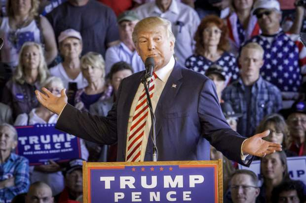 Presidential Candidate Donald Trump reacting to protestors during his rally in Grand Junction in October.