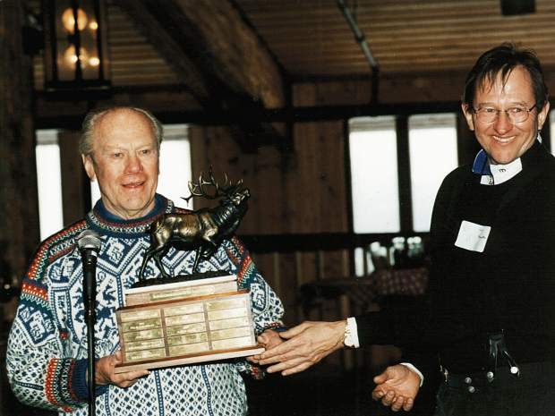 Harry Frampton, right, presents Jerry Ford with a Vail Valley Foundation Award.