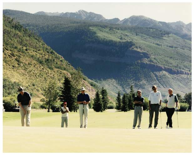 During President Bill Clinton's first term, the Clinton family spent a vacation with the Fords in Vail/Beaver Creek. Among other things, they played a round of golf in Vail. From left are President Clinton, a secret service agent, President Gerald R. Ford, John Garnsey, Harry Frampton and Jack Nicklaus playing golf on the Vail Golf course