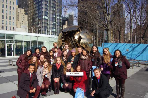 Members of last year's Roaring Fork High School Model UN club outside the United Nations Headquarters in New York City.