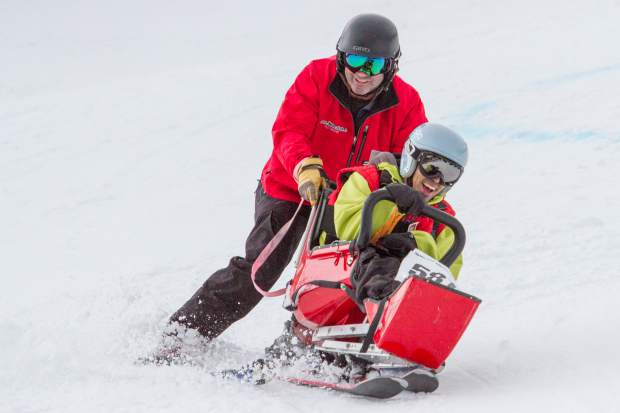 A skier and partner make their way through the slalom course during the 2017 Western and Southeast Regional Special Olympic Winter Games at Sunlight Mountain on Friday. Roughly 200 athletes are competing this weekend and have traveled to Glenwood Springs from all over the state. The games continue Saturday at the Argonaut farm with the snowshoe and cross-country skiing competitions.