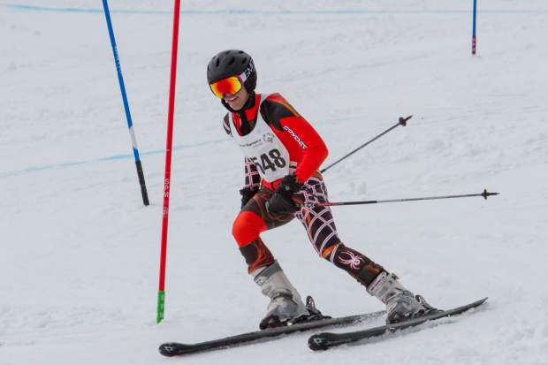 Drew Boglioli makes his way down the course during the afternoon slalom race during the 2017 Western and Southeast Regional Special Olympic Winter Games at Sunlight Mountain.