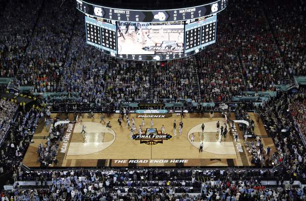 North Carolina players celebrate after the finals of the Final Four NCAA college basketball tournament against Gonzaga, Monday, April 3, 2017, in Glendale, Ariz. North Carolina won 71-65. (AP Photo/Morry Gash)