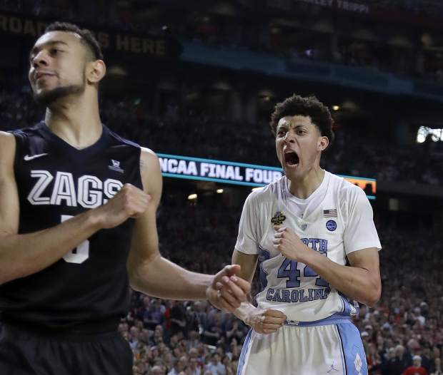 North Carolina's Justin Jackson (44) reacts after making a shot during the second half in the finals of the Final Four NCAA college basketball tournament against Gonzaga, Monday, April 3, 2017, in Glendale, Ariz. (AP Photo/David J. Phillip)