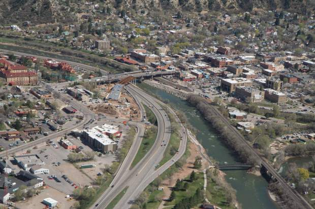 An aerial of downtown Glenwood Springs from the Classic Air Medical helicopter.