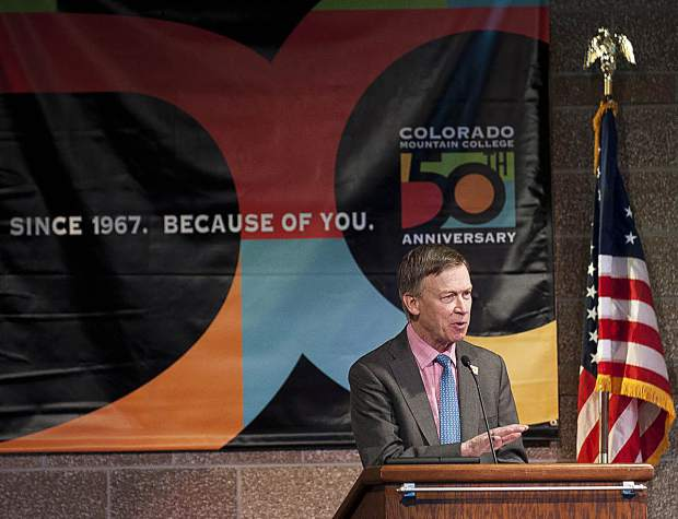 Colorado Gov. John Hickenlooper on Friday addresses the full house at the graduation ceremony for Colorado Mountain College's Colorado Law Enforcement Training Academy.