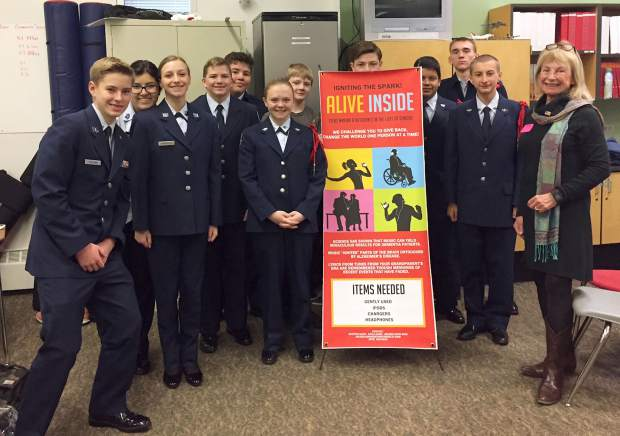Glenwood Springs High School students in the Air Force Jr. ROTC program, who helped to spearhead the local Igniting the Spark - Alive Inside effort to provide musical memories for memory loss patients at Grace Health Care nursing home.