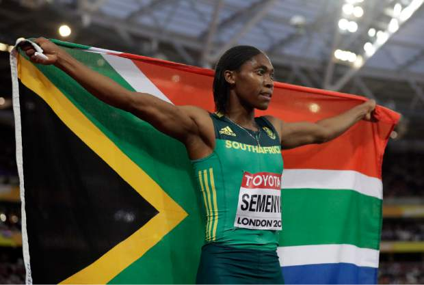 South Africa's Caster Semenya celebrates after winning the gold medal in the women's 800-meter final during the World Athletics Championships in London Sunday, Aug. 13, 2017. (AP Photo/Matt Dunham)