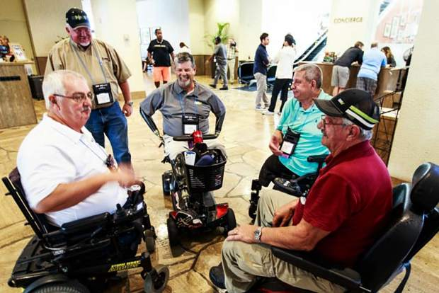 Perspective: John Pettit of the Western Slope Veterans Coalition attended the National Disabled American Veterans (DAV) Convention in New Orleans. He took this photo showing three Vietnam war disabled veterans in chairs. Two are triple amputees and one is a double amputee (legs). The fourth disabled veteran in a chair is now-past National Commander Dave Riley, a quadruple amputee. Riley lost his limbs due to a bacterium, which he contracted as a rescue swimmer with the U.S. Coast Guard, that went sepsis. As national commander of the DAV, Riley spoke at Glenwood Springs High School during the National Disabled Veterans Winter Sports Clinic in Snowmass last March. Pettit says this photo is a simple reminder that some things are for life, while some, albeit frustrating, are a short-term inconvenience.