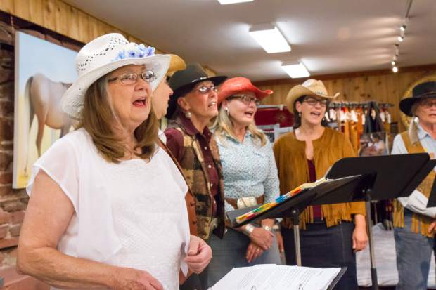 Cowboy Corral Singers perform for the VIP guests at the grand opening of the Doc Holliday Museum Friday evening.