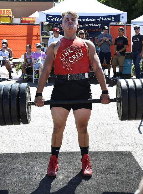 Jesse Duplesys stands as he competes in the dead lift portion of the Strongman Competiton.
