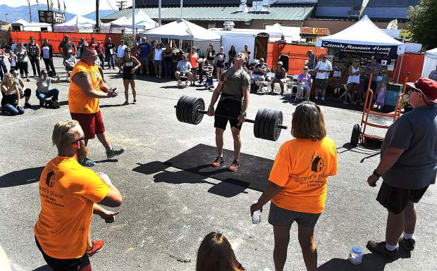 John Langstaff of Rifle completes the final repetition in the dead lift.