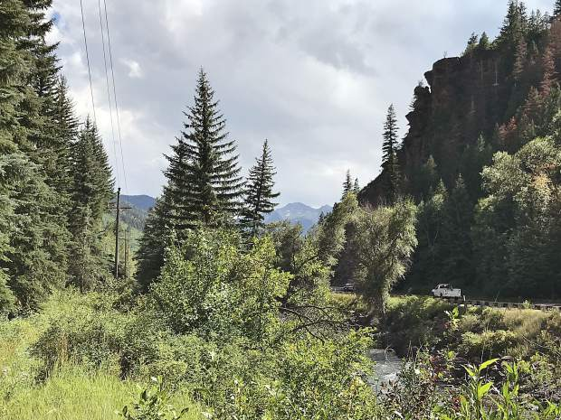 Dale Will of Pitkin County Open Space and Trails captured this modern photo, which shows only the old railroad grade with the highway remains visible.