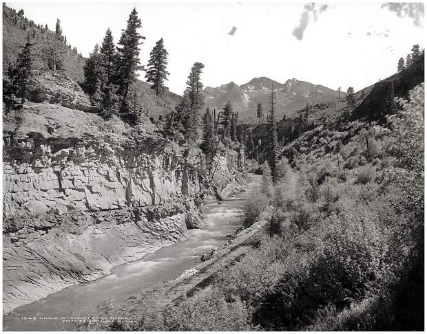 This historic photo above Hays Creek Falls shows a corridor that's long been used for transit. The present highway used the alignment used by the Crystal Railroad, which used the original Pitkin County wagon road, which followed the Ute Trail.