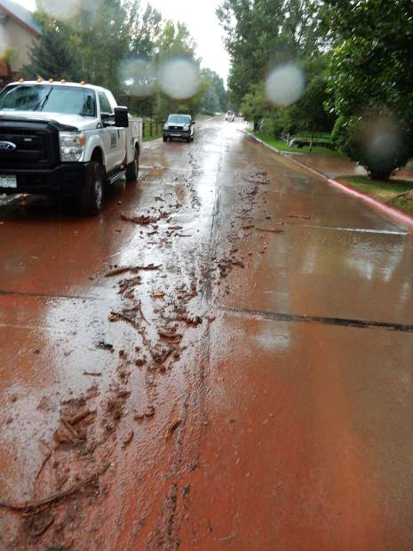 A downpour in Basalt Friday sent a torrent of water down gullies on the east side of town. Some homes on the east end of Elk Run subdivision took on water.