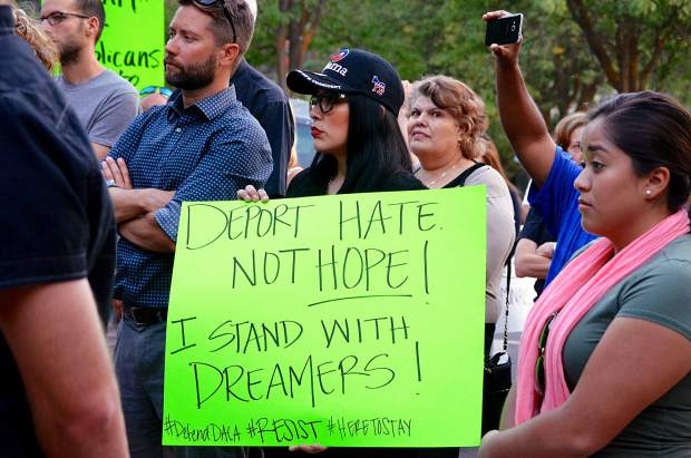 Protesters rallied outside Glenwood's Colorado Mountain College building  evening of Sept. 5, 2017, after news came earlier in the day that the Deferred Action for Childhood Arrivals program was being rescinded.