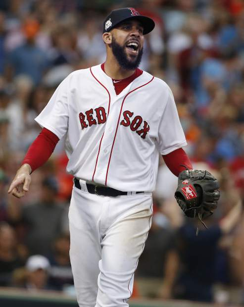 Boston Red Sox relief pitcher David Price reacts with a shout after striking out Houston Astros' Marwin Gonzalez to end the top half of the seventh inning in Game 3 of baseball's American League Division Series, Sunday, Oct. 8, 2017, in Boston. (AP Photo/Michael Dwyer)