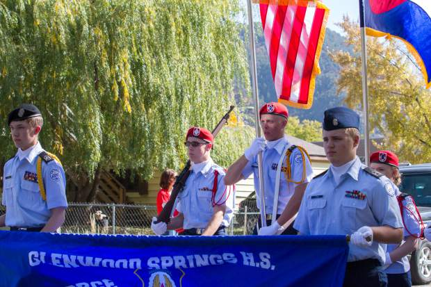 The Glenwood Springs Junior ROTC lead the 2017 Glenwood Springs High School Homecoming Parade.