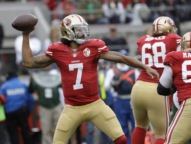 FILE - In this Dec. 11, 2016, file photo, San Francisco 49ers quarterback Colin Kaepernick (7) passes against the New York Jets during the first half of an NFL football game in Santa Clara, Calif. Houston Texans coach Bill O'Brien says he and general manager Rick Smith have discussed signing Colin Kaepernick in the wake of last week's season-ending injury to Deshaun Watson. When asked about Kaepernick on Monday, a day after Tom Savage struggled in a loss to the Colts, O'Brien said: