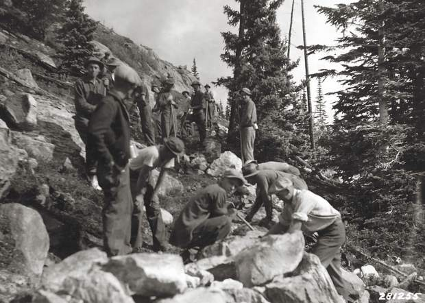 CCC boys working on building the Fall Creek Trail on the Eagle-Holy Cross Ranger District, circa 1933.