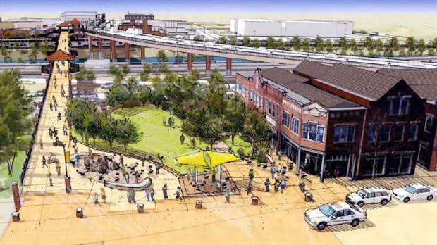 A rendering of the park area that is envisioned as part of the Sixth Street Redevelopment Master Plan.
