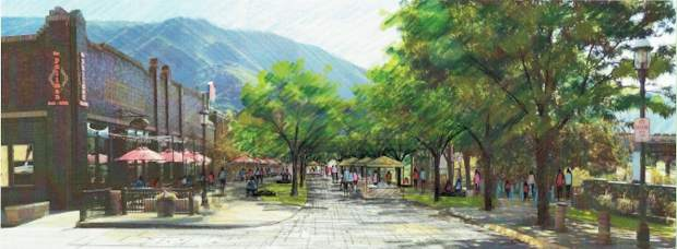A rendering by consultants Shannon Murphy Landscape Architects and Charlier Associates shows the concept for a redesigned