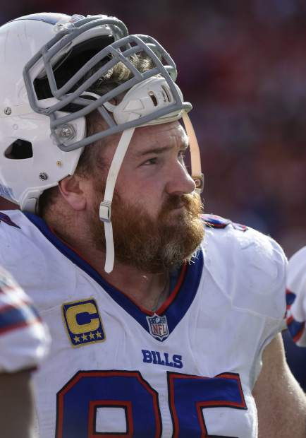 In this Nov. 26, 2017, file photo, Buffalo Bills defensive tackle Kyle Williams watches during the second half of the team's NFL football game against the Kansas City Chiefs in Kansas City, Mo. Even at the height of the Bills' offseason roster overhaul, Williams never wavered in his belief that Buffalo had the chance to be a playoff contender. The 12-year veteran hasn't been proven wrong yet with the Bills (8-7) needing help, but still in the mix, in preparing to close their season at Miami (6-9) in what could be Williams' final game on Sunday. (AP Photo/Reed Hoffmann, File)