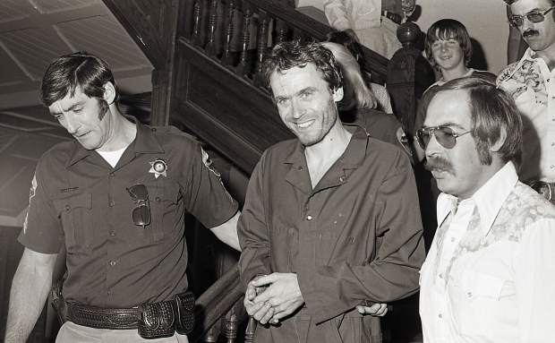 This photo of Ted Bundy being led through the PItkin County Courthouse in 1977 was found when the Post Independent cracked its old safe.
