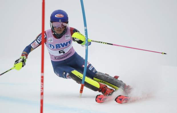 FILE - In this Nov. 26, 2017, file photo, Mikaela Shiffrin, of the United States, competes during her first run in the women's FIS Alpine Skiing World Cup slalom race, in Killington, Vt. Shiffrin continues to race as well as she has been, she is setting herself up to be the biggest start of the Pyeongchang Olympics. Not just of Alpine skiing, but the entire Winter Games. (AP Photo/Charles Krupa, File)