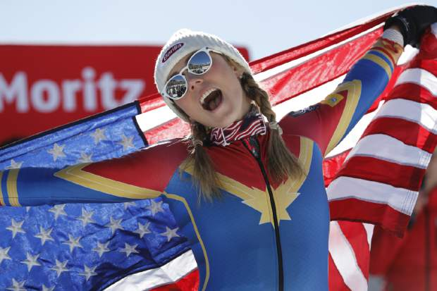 FILE - In this Feb. 18, 2017, file photo, Mikaela Shiffrin, of the U.S., celebrates her gold medal in the women's slalom at the alpine skiing World Championships in St. Moritz, Switzerland. Shiffrin continues to race as well as she has been, she is setting herself up to be the biggest start of the Pyeongchang Olympics. Not just of Alpine skiing, but the entire Winter Games. (AP Photo/Marco Trovati, File)