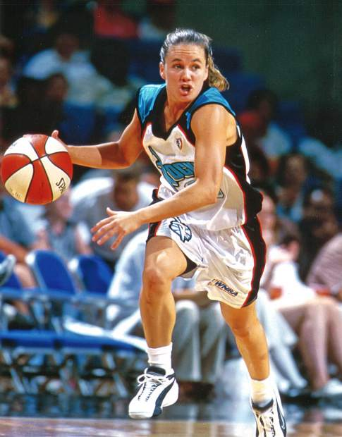 Tricia Bader Binford, shown here as a member of the WNBA's Cleveland Rockers, played five season in the WNBA and two additional years in the Australian NWBL.
