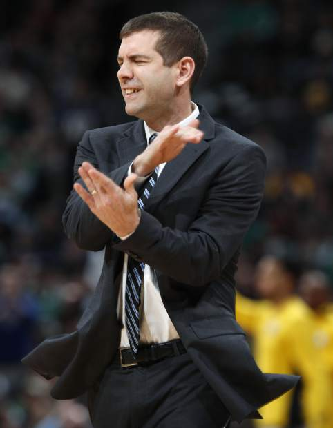 Boston Celtics head coach Brad Stevens reacts after his team gave up a basket to Denver Nuggets center Mason Plumlee in the second half of an NBA basketball game Monday, Jan. 29, 2018, in Denver. The Celtics won 111-110. (AP Photo/David Zalubowski)