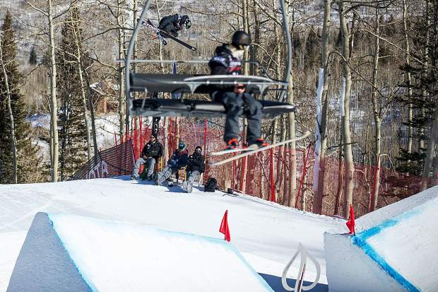 Gus Kenworthy during a practice run before men's ski slopestyle finals in Snowmass on Sunday. Kenworthy won from his second run score of 95.40.