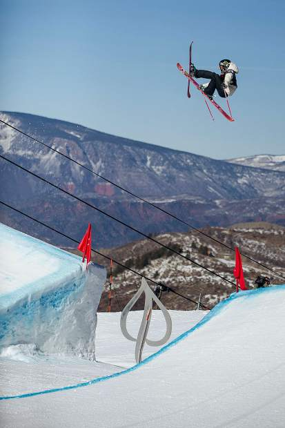 U.S.skier Maggie Voisin on her first run going off the last feature for the women's slopestyle finals in Snowmass on Sunday. Voisin took second place with a score of 87.20.