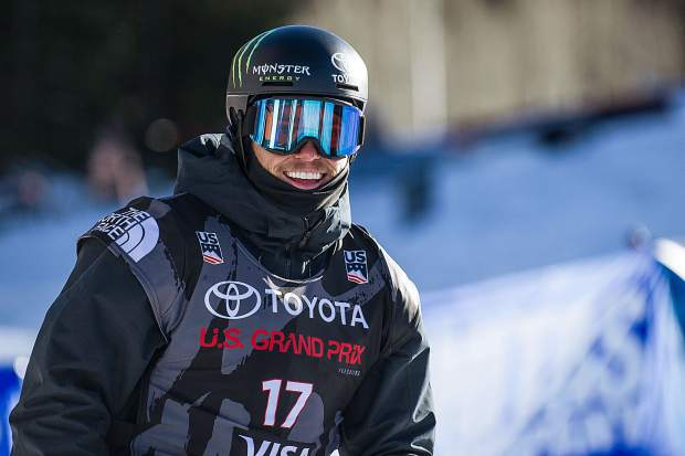 American skier Gus Kenworthy all smiles after stomping his second run securing his spot in the Olympics and also putting him into first place for the men's ski slopestyle finals in Snowmass on Sunday. Kenworthy won from his second run score of 95.40.