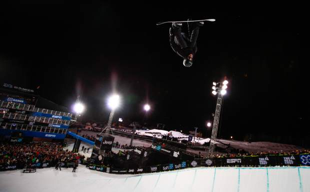 Iouri Podladtchikov before going down hard with a head injury on his second run of the Men's Snowboard Superpipe Finals on Sunday, Jan. 28, in Aspen. Podladtchikov was taken to the hospital.