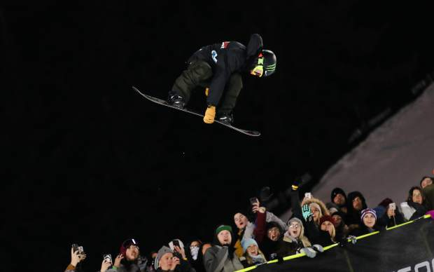 Ayumu Hirano flies through the air during his first run of the Men's Snowboard Superpipe Finals during the X Games on Sunday, Jan. 28, in Aspen. Hirano placed first with a score of 99 out of 100.