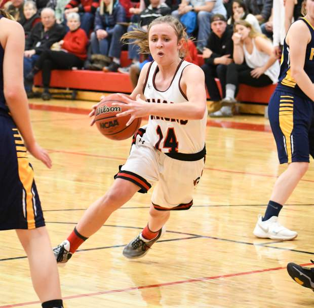 Glenwood Springs Demon Natalya Taylor dribbles the ball through the defending Rifle Bears during Thursday night's rival game.