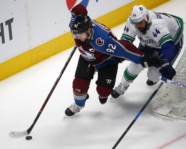 Colorado Avalanche left wing Gabriel Landeskog, left, drives past Vancouver Canucks defenseman Erik Gudbranson to wrap around the net for a shoot in the first period of an NHL hockey game Monday, Feb. 26, 2018, in Denver. (AP Photo/David Zalubowski)