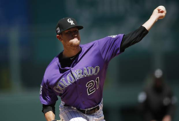 Colorado Rockies starting pitcher Kyle Freeland delivers to Atlanta Braves' Ender Inciarte in the first inning of a baseball game Sunday, April 8, 2018, in Denver. (AP Photo/David Zalubowski)