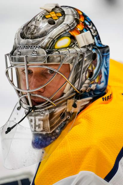 Nashville Predators goaltender Pekka Rinne looks on during warmups in Game 6 of an NHL hockey first-round playoff series against the Colorado Avalanche, Sunday, April 22, 2018, in Denver. (AP Photo/Jack Dempsey)