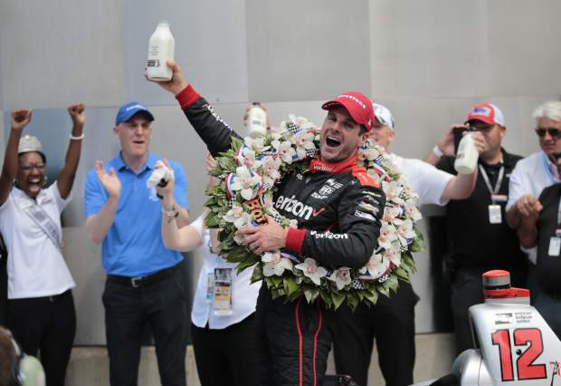 Will Power, of Australia, celebrates after winning the Indianapolis 500 auto race at Indianapolis Motor Speedway in Indianapolis, Sunday.