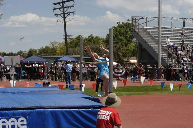 Coal Ridge freshman Marin Simons attemps to clear the bar during the 3A high jump Thursday at JeffCo Stadium.