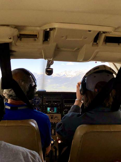 EcoFlight founder, president and chief pilot Bruce Gordan flies a Cessna 210 Wednesday with a few students from the Colorado Rocky Mountain School on a tour of public lands.