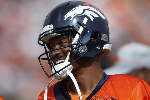Denver Broncos wide receiver Demaryius Thomas takes part in drills during the team's NFL football training camp Saturday, July 28, 2018, in Englewood, Colo. (AP Photo/David Zalubowski)