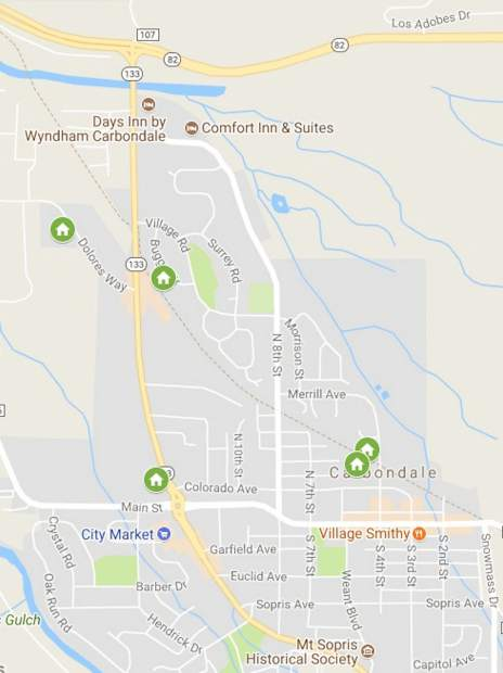 A map pinpoints some possible locations for an Artspace live-work housing project in Carbondale, which is being informed by an ongoing Creative Space survey.