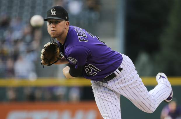 Colorado Rockies starting pitcher Kyle Freeland throws to the plate against the Pittsburgh Pirates during the first inning of a baseball game, Monday, Aug. 6, 2018, in Denver. (AP Photo/Jack Dempsey)