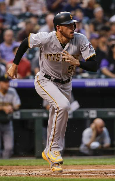 Pittsburgh Pirates' Joe Musgrove runs out a double hit off Colorado Rockies starting pitcher Kyle Freeland during the third inning of a baseball game, Monday, Aug. 6, 2018, in Denver. (AP Photo/Jack Dempsey)