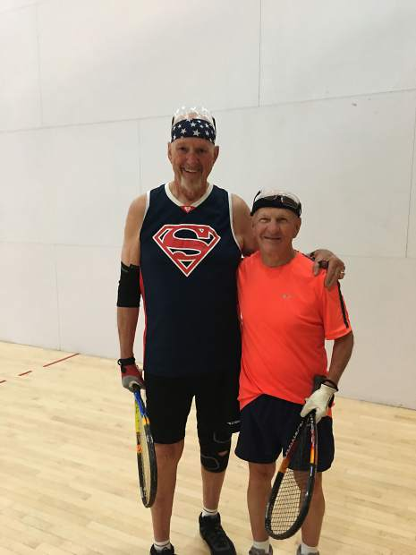 Lindel Silvertooth, right, on the racquetball court.